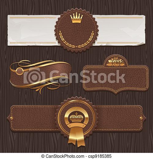 кожа, золотой, labels, &, обрамленный - csp9185385