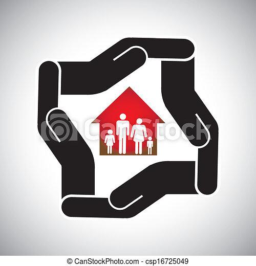 концепция, имущество, дом, главная, страхование, семья, &, личный, также, здоровье, актив, vector., безопасность, deals, реальный, бизнес, безопасно, защита, represents, графический, защита, и т.д, или - csp16725049