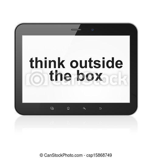 коробка, таблетка, pc, за пределами, компьютер, образование, думать, concept: - csp15868749