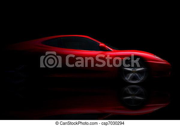 красивая, автомобиль, спорт, черный, красный - csp7030294