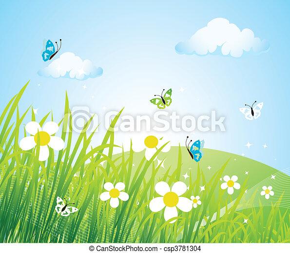 красивая, весна, луг - csp3781304