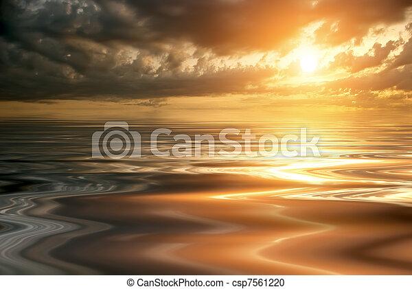 красивая, закат солнца, спокойный, море - csp7561220