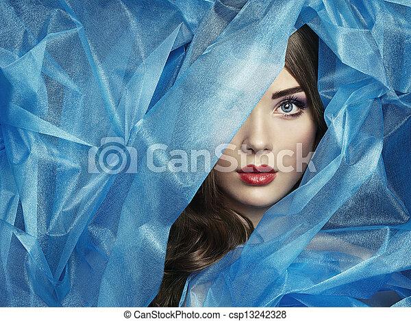 красивая, синий, мода, фото, под, вуаль, женщины - csp13242328