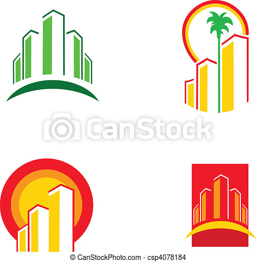 красочный, здание, иллюстрация, вектор, -1, icons - csp4078184