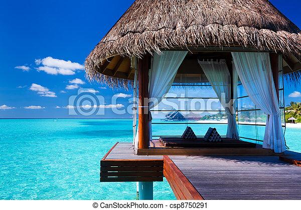 лагуна, тропический, спа, overwater, bungalows - csp8750291