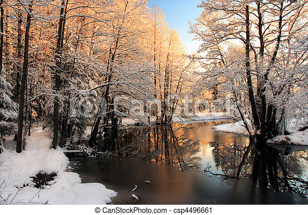 легкий, река, зима, восход - csp4496661