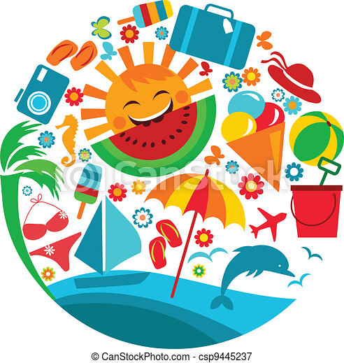 лето, vacation;, шаблон, icons - csp9445237