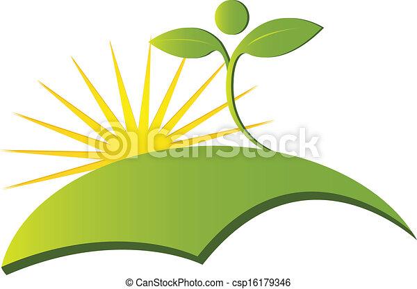 логотип, вектор, здоровье, природа - csp16179346