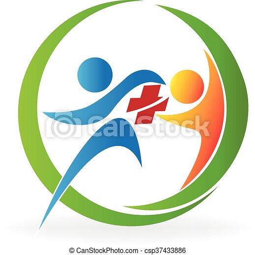 логотип, командная работа, здоровье, забота - csp37433886