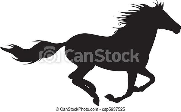 лошадь, вектор, силуэт - csp5937525