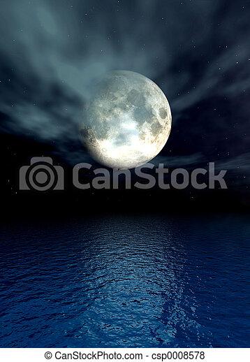 лунный свет, океан - csp0008578