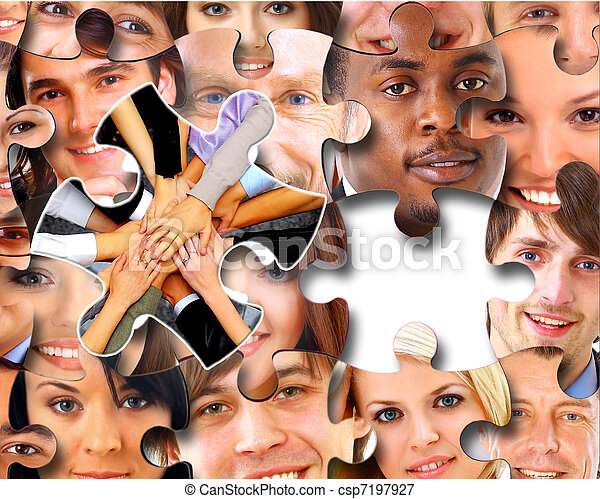 люди, pieces, бизнес, головоломка, группа - csp7197927