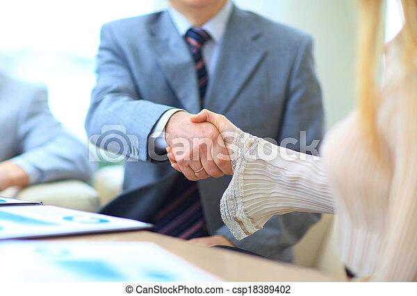 люди, shaking, бизнес, руки - csp18389402