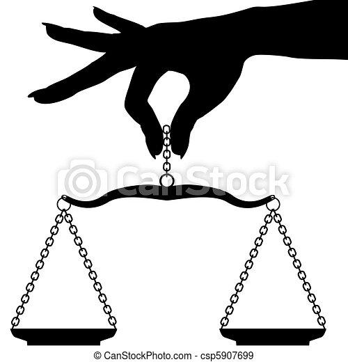 масштаб, рука, человек, держа, взвешивать, баланс - csp5907699