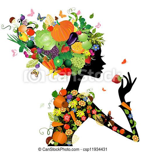 мода, волосы, дизайн, fruits, девушка, ваш - csp11934431