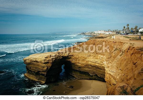 натуральный, loma, точка, пещера, парк, тихий океан, закат солнца, вдоль, cliffs, california. - csp28375047