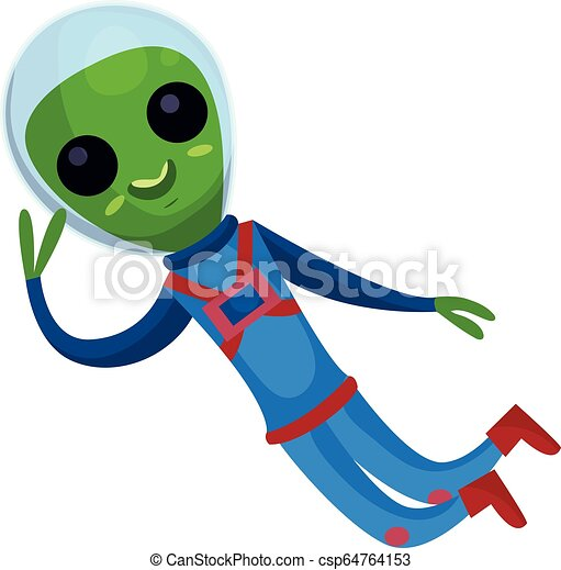 носить, веселая, eyes, инопланетянин, пространство, большой, летающий, пространство, иллюстрация, синий, положительный, вектор, зеленый, костюм, мультфильм, персонаж - csp64764153