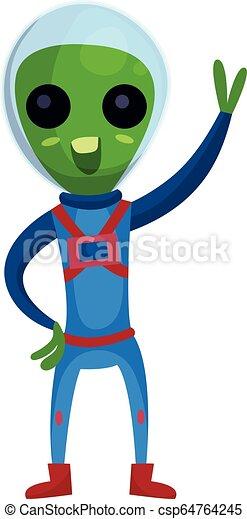 носить, веселая, eyes, his, инопланетянин, пространство, рука, большой, синий, персонаж, иллюстрация, waving, положительный, вектор, зеленый, костюм, мультфильм - csp64764245