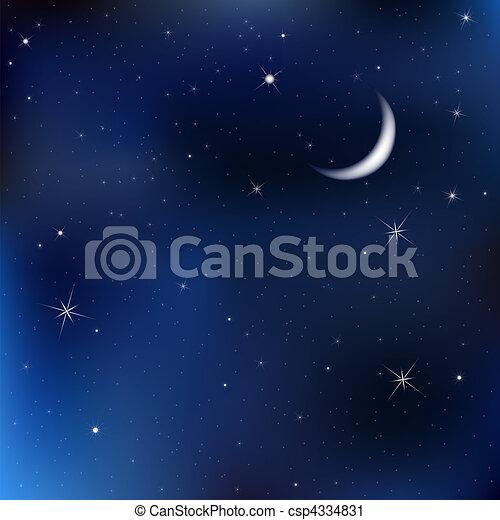 ночь, небо, число звезд:, луна - csp4334831