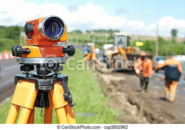 оборудование, геодезист, теодолит, уровень - csp3802962