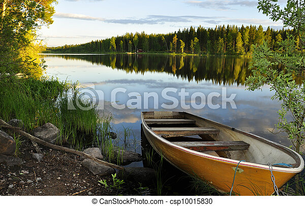 озеро, отражение, спокойный - csp10015830