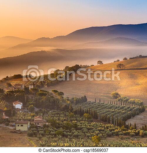 пейзаж, италия, над, утро, туман, тоскана - csp18569037