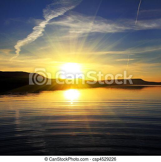 пейзаж, озеро, восход, утро - csp4529226