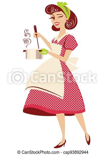 платье, вектор, кухня, марочный, домохозяйка, room., стиль, ее, горшок, isolated, красный, суп, держа, штырь, белый, иллюстрация, готовка, вверх, ретро - csp93892944