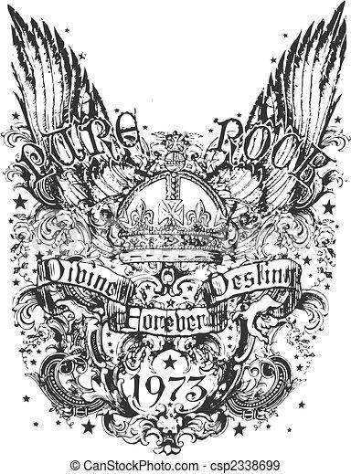 племенной, корона, крыло, иллюстрация - csp2338699