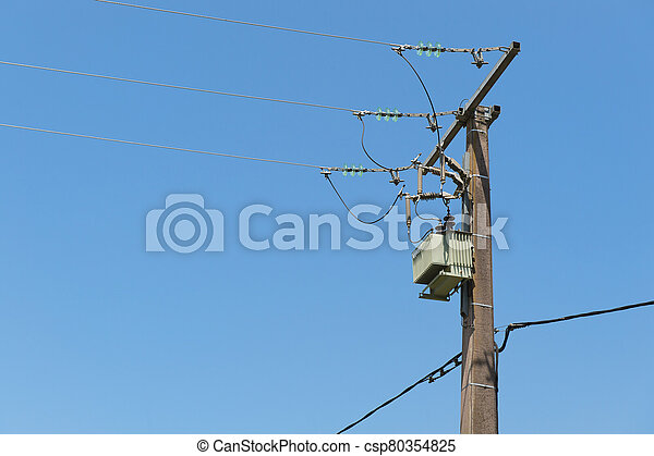 против, синий, небо, столб, электричество - csp80354825