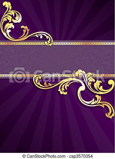 пурпурный, баннер, золото, вертикальный - csp3570354