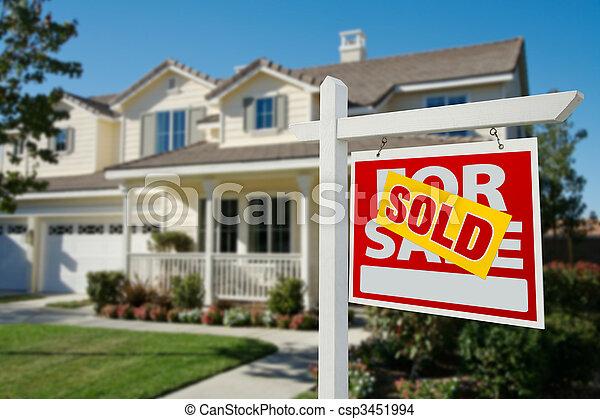 реальный, дом, продан, имущество, знак - csp3451994
