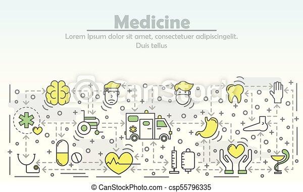 реклама, вектор, лекарственное средство, линия, квартира, иллюстрация, изобразительное искусство - csp55796335