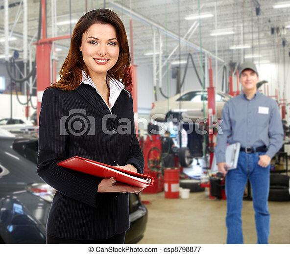 ремонт, менеджер, женщина, service., авто - csp8798877