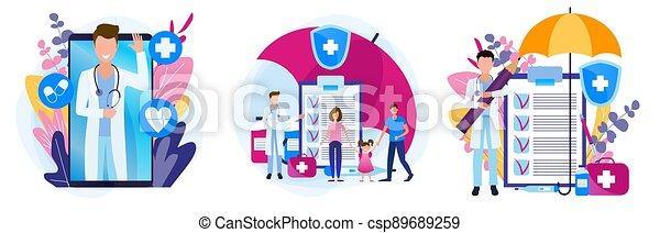 рецепт, здоровье, theme., задавать, семья, medicines., illustrations, insurance., медицинская - csp89689259
