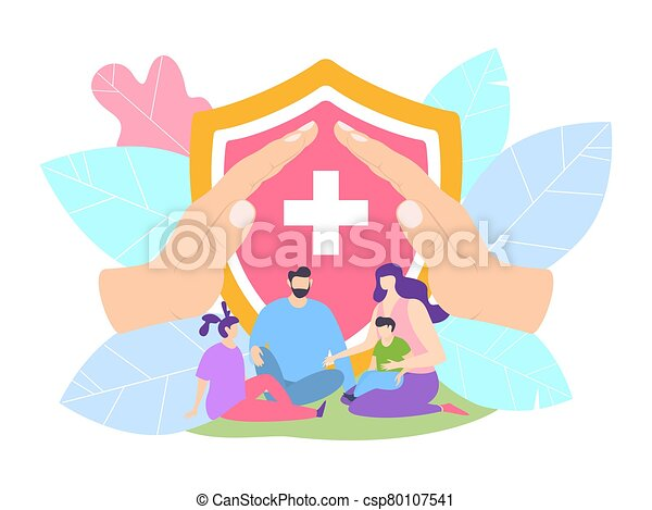родитель, hospital., защита, клиника, концепция, защищенный, семья, вектор, children, illustration., жизнь, страхование, здоровье - csp80107541