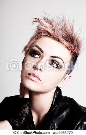 розовый, волосы, панк, молодой, женский пол - csp5966279