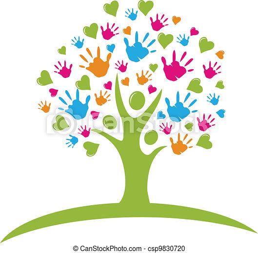 руки, hearts, дерево, figures - csp9830720