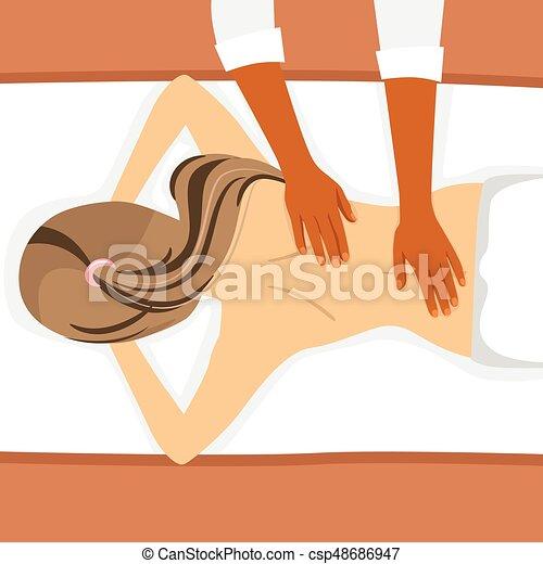 салон, женщина, молодой, назад, спа, receiving, массаж - csp48686947