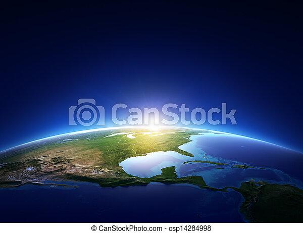 север, над, безоблачный, земля, америка, восход - csp14284998
