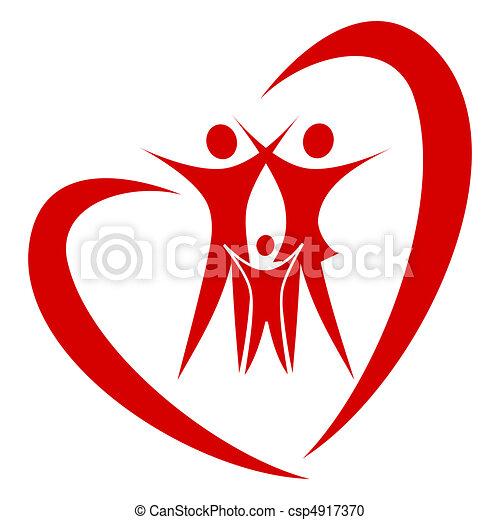 сердце, вектор, семья - csp4917370