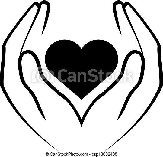 сердце, держа, руки - csp13602408