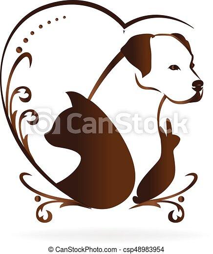 сердце, люблю, swirly, марочный, собака, кот, кролик, логотип, птица - csp48983954