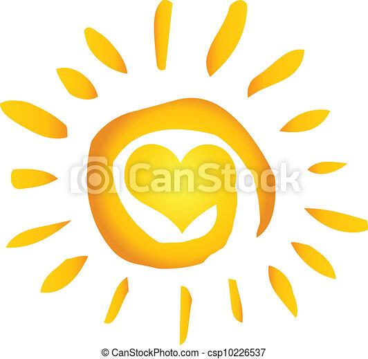 сердце, солнце, горячий, абстрактные, лето - csp10226537