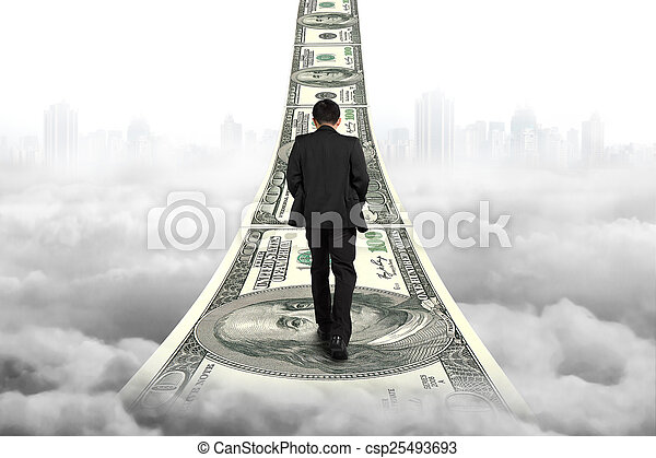 серый, гулять пешком, деньги, clou, cityscape, бизнесмен, лестница - csp25493693