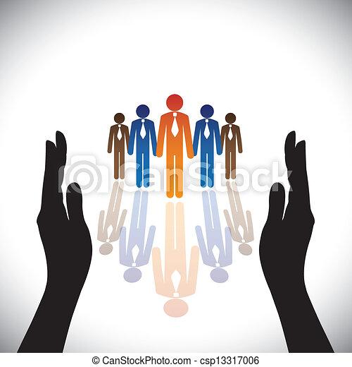 силуэт, concept-, компания, secure(protect), рука, сотрудников, корпоративная, или, executives - csp13317006