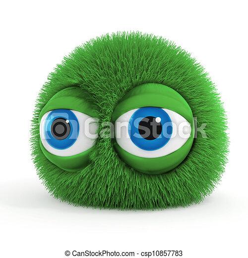 синий, веселая, eyes, большой, пушистый, существо, 3d - csp10857783