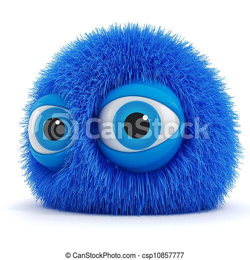 синий, веселая, eyes, большой, пушистый, существо, 3d - csp10857777