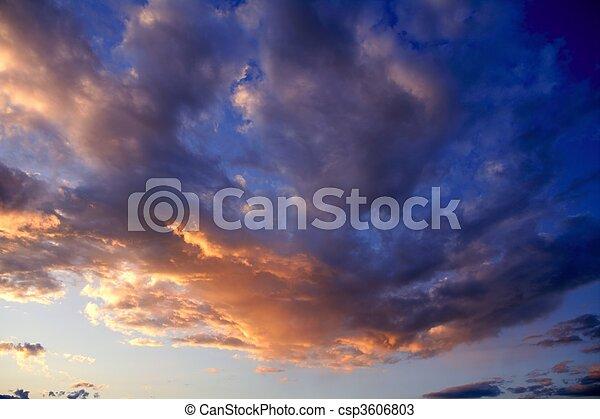 синий, закат солнца, небо, красный, задний план - csp3606803