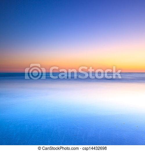 синий, сумерки, океан, закат солнца, белый, пляж - csp14432698